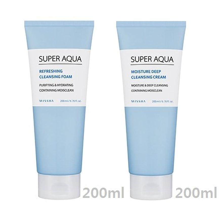 環境暖かく問題[1+1] MISSHA Super Aqua Cleansing Cream + Foam/ミシャ スーパー アクア クレンジング クリーム + フォーム [並行輸入品]