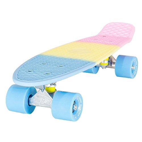 """LAND SURFER® Skateboard Cruiser Completo 56cm con tavola con 3 toni di colori """"stile Pastello"""" – cuscinetti ABEC 7 – Ruote Blu 59mm PU + borsa per il trasporto"""