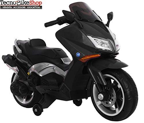 Tecnobike Shop Moto Motocicletta Elettrica Scooter per Bambini Magnum BKT 12V con Luci LED e Suoni MP3 USB No T-Max (Nero)