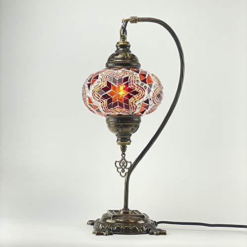Rojo y naranja hecho a mano turco Otomano marroquí Estilo Mosaico con cuello de cisne de mesa lámpara de mesa dormitorio restaurante Cafe decoración luz tamaño 3