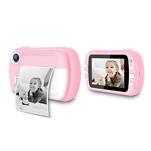 i-Paint World - Sofortbildkamera für Kinder, B/N Druck auf Thermopapier, 1080P Kamera tragbare Digitalkamera FHD, 3,5 Zoll LCD Farbe Rosa