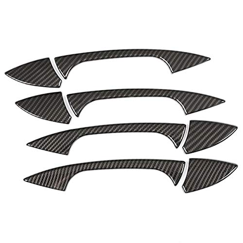 DINGMINGMING 4 tiradores de fibra de carbono ABS cromados para puerta de coche para Mercedes Benz A GLK GL ML C Clase W204 X204 W176 con logo accesorios de coche (color : fibra de carbono)