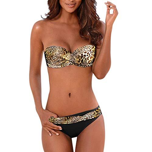 Traje de Baño Mujer 2020 SHOBDW Moda Sexy Traje de Baño Mujer Dos Piezas Conjunto de Bikini Push Up Traje de Baño Mujer Talle Alto Leopardo Bañadores de Mujer Sin Tirantes