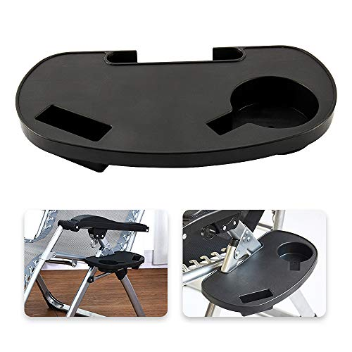 You's Auto Clip On Side Table Camping Chair Side Table Tray with Mobile Device Slot and Cup Holder Snack Tray for Sun Lounger Camping Chair Garden Fishing Outdoor Activity (1PCS)
