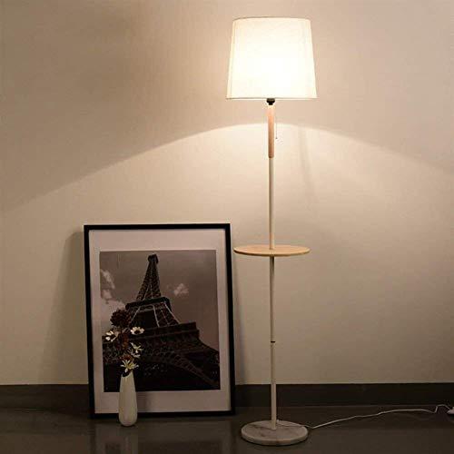 Luces de Piso LED Interruptor de pie de Madera e Interruptor de Tiro Mesa de Centro con Estante Luces de Hotel con Bombilla LED de 5 W incluida, lámpara Blanca