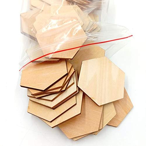 MILISTEN 50 Piezas de Discos de Madera Rebanadas Forma Hexagonal Recortes de Madera sin Terminar para Proyectos de Manualidades DIY Etiquetas de Nombre en Blanco Etiquetas de Regalo para