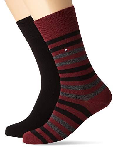 Tommy Hilfiger Herren TH MEN DUO STRIPE 2P Socken, Mehrfarbig (Bordeaux 070), 39/42 (Herstellergröße: 039) (2er Pack)