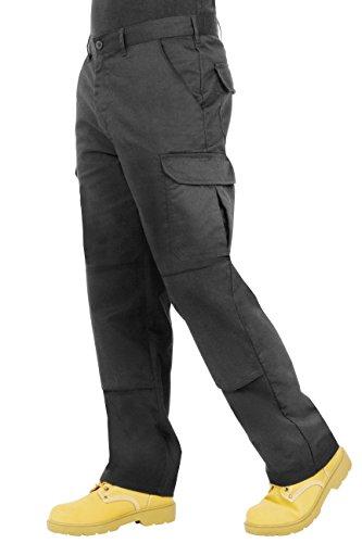 ProLuxe Endurance Herren-Cargo-Arbeitshose mit Kniepolstertaschen und verstärkten Nähte (Schwarz, 30T)