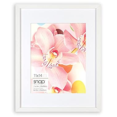Snap 11x14 White Wood Wall Frame with Single White Mat For 8x10 Image
