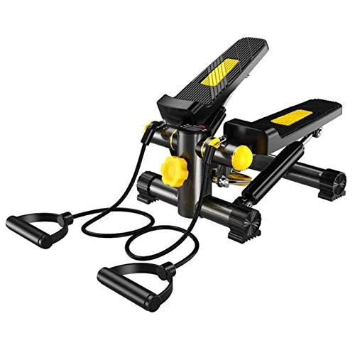 Qyaml Swing Stepper Machine con Pantalla Led Y Cuerdas De Entrenamiento, Up Down Stepper Machine para Principiantes Y Usuarios Avanzados (Negro)
