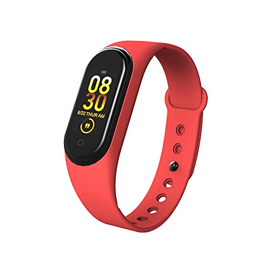 Pulsera Inteligente, Reloj Bluetooth Sports Smart Watch, Ritmo Cardíaco Y Presión Arterial Rastreador De Fitness, Podómetro, Salud Impermeable, Monitoreo del Sueño,Rojo