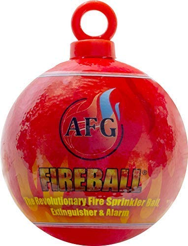 AFG FIREBALL MINI-Fire Extinguisher Ball, Red | Automatic Fire Extinguisher Ball with Hanging Loop and Glow-in-the-Dark Safety Sign Sticker | Ideal for Home, RV, Car, Boat and more
