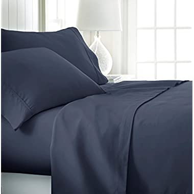 ienjoy Home Hotel Collection Luxury Soft Brushed Bed Sheet Set, Hypoallergenic, Deep Pocket, Queen, Navy