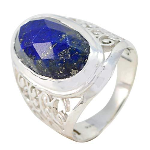 joyas plata bonita piedra preciosa forma ovalada una piedra cheker anillos de lapislázuli - anillo de lapislázuli azul de plata de ley 925 - libra de nacimiento de octubre