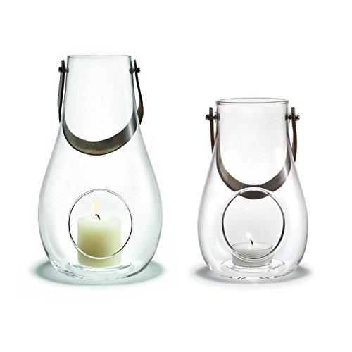 Holmegaard Design with Light Laterne 2er Set, transparent 1x Laterne: H 25cm Ø 15,2cm 1x Laterne: H 16cm Ø 10,3cm