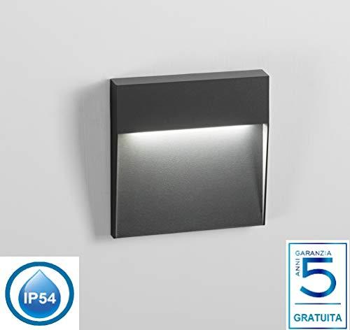 segnapasso led per esterno giardino 6w 4000k moderno grigio scuro antracite quadrato senza incasso certificazione elettrica italiana garanzia 5 anni ip54