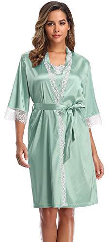 SHEKINI Kimono Mujer Batas Elegante Pijama 3/4 Manga con Cinturón Satén Camisón Sexy(M,Verde Claro