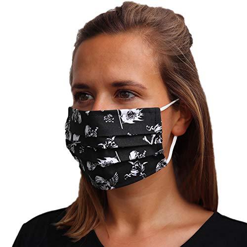 LIEVD Behelfsmaske Muster Totenkopf Schwarz wiederverwendbar M I waschbare Gesichtsmaske aus 100% Baumwolle Öko-Tex 100 | Made in Germany I 2-lagige Stoff Mund Nasen Maske, Alltagsmaske, Mundschutz