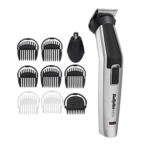 BaByliss MEN 10 in 1 Titanium Face and Body Multi Grooming Kit with Nose Trimmer Head