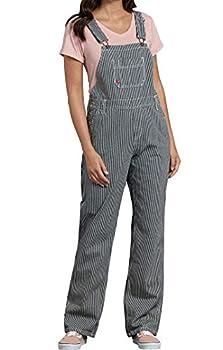 Dickies Women s Bib Overall 100% Cotton Denim with ScuffGard Rinsed Hickory Stripe Medium