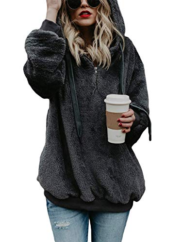 Voopptaw Womans Casual Baggy Fluffy Hoodie Solid Color Autumn Jumper Sweatshirt Outwear with Pockets Dark Grey M