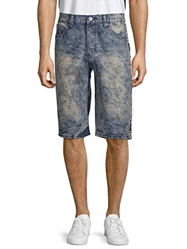 Rocawear Men's Marquis Classic 5-Pocket Denim Shorts with Taped Side Stripe (Light Wash) (W32)