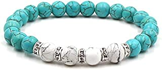 REBUY® Firoza/Turquoise Stone Bracelet with Howlite Stone 8 mm Beads Reiki Crystal Healing Stone Bracelet for Men and Women