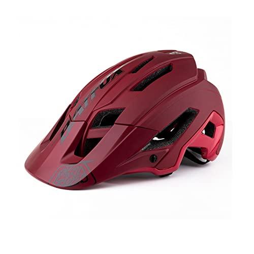 Zeroall Casco Bici Adulto Casco da Bicicletta E-Scooter E-Bike 56-62cm Dimensioni Regolabili Donna Uomo Mountain Bike Helmet, Passa la certificazione CE, con Visiera Staccabile(Rosso)