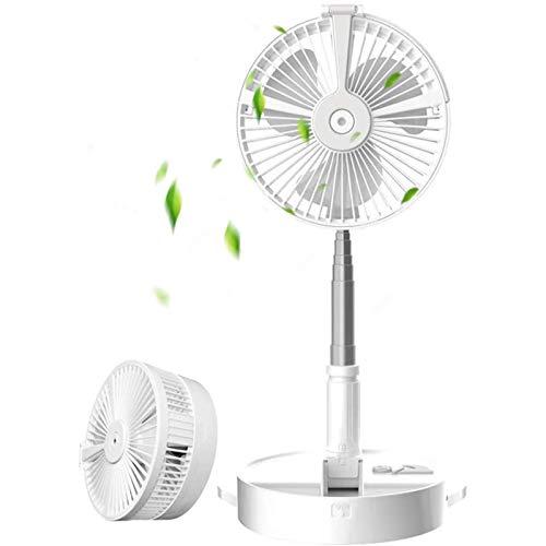 Ventilador de Mesa, USB Ventilador Extensible Plegable Ventilador de Pedestal Ultra Compacto Incorporado de 7200mAh para Hogar, Oficina, Camping, Picnic y etc