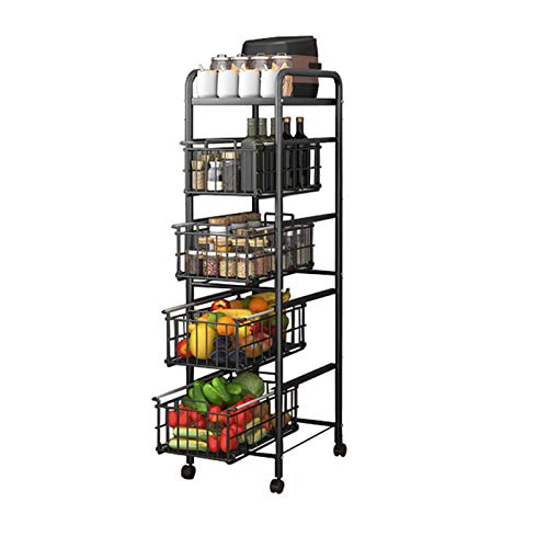 LKH Rack De Almacenamiento De 5 Niveles, Tipo De Cajón Design Design Soporte De Microondas para Cocina, Baño, Sala De Estar, Piso Spice Spice Organizer(Size:41×25×132cm,Color:5-Tier)