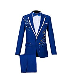 Blue, Slim Fit Tuxedo Sequin Jacket and Trousers