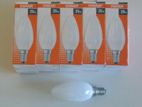 10 x OSRAM Glühlampe Glühbirne Kerze 25W 25 Watt E14 MATT Glühbirnen Glühlampen