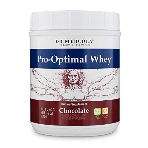 Dr. Mercola, Pro-Optimal Whey Chocolate Protein Powder, 19.2 oz (1 LB. 3.2 oz), BCAA, Dissolves Easily, Natural Flavors, Non GMO, Soy-Free, Gluten Free