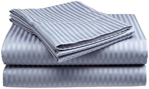 London Home 4-Piece Bed Sheet Set - Dobby Stripe - 100% Cotton Sateen - 400 Thread Count - Queen - Light Blue
