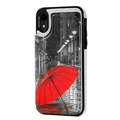 N/A Lederen iPhone XR Portemonneehouder, Kaarthouder Case met Creditcard Slots Regenboog Eenhoorn, Anti-Scratch Schokbestendig Zachte TPU Bumper Full-Body Beschermende Hoesje Cover voor iPhone XR 6.1 Inch, Eén maat, Rode Paraplu Regen