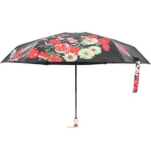 Wuji Faltbarer Regenschirm, Tragbarer Winddichter Tintenstrahldruck Sonnenregenschirm, 6 Rippen Vinyldruck UV-Schutzschirm, für Reisen Im Freien, Einkaufen