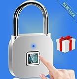 Padlock, Fingerprint Combination Lock for Gym, Sports, School & Employee Locker, Outdoor, Fence, Hasp and Storage. Smart Touch Lock Metal Waterproof