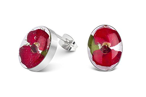 Sterling Silver Oval Stud Earrings Made With Real Poppies