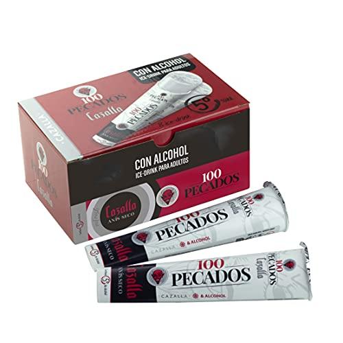 Ice Drink 100 Pecados | 8 unidades 90ml | 5° %Vol | Bebida aromatizada de baja graduación sabor Gin y fresa con azúcar y edulcorantes lista para congelar | flash helado