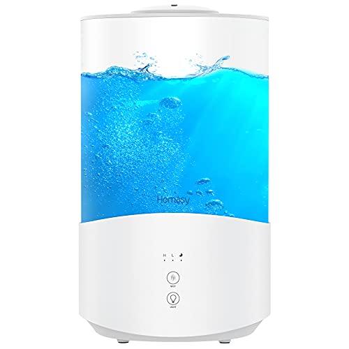 Homasy 4L Ultraschall Luftbefeuchter, 50H Humidifier mit 7 Farben LED, BPA-Frei Top-Füllung Luftbefeuchter Schlafzimmer für Kinderzimmer, 24dB Leise Aroma-Diffusor, Raumluftbefeuchter mit Schlafmodus