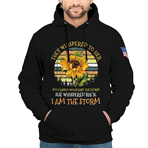 NeiBangM Mens Fashion Sweatjacke Pullover They Whispered to her You Cannot Withstand The Storm she Whispered Back i am The Storm Sunflower Training Pullover Für Jugenden White l