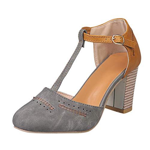Minetom Damen Sandalen Sommer Pumps T Strap Blockabsatz Pointed Toe Mary Janes Bequeme High Heels Abendschuh Mode Sandals Grau 43 EU