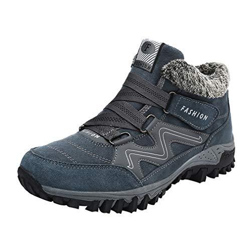 Männer Frauen Winter Warme Stiefel Schnee Hochhaus Stiefel Trekking Boots Wanderschuhe Winterstiefel rutschfest Outdoor Mit Klettverschluss Blau +Grau