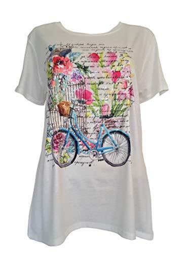 Alex(e) T-Shirt Femme Manches Courtes Vêtement Made in France Col-Rond Grandes Tailles Top Haut Mode Eté Chic Imprimé Bicyclette (L)
