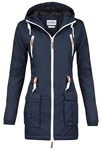 Sublevel Damen Matilda Winter Jacke Parka Mantel Winterjacke gefüttert mit Kapuze 6 Farben XS-XL Midnight Blue XL