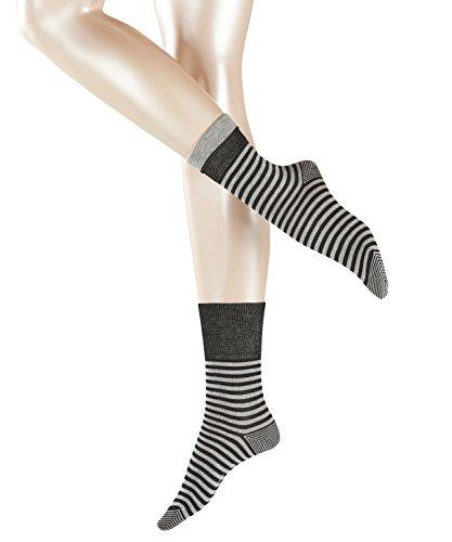 ESPRIT Damen Fold Stripe W SO Socken, Blickdicht, Schwarz (Black 3000), 35-38 (UK 2.5-5 Ι US 5-7.5) (2er Pack)