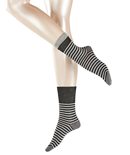 ESPRIT Damen Socken Fold Stripe - 83% Baumwolle , 1 Paar, Schwarz (Black 3000), Größe: 35-38