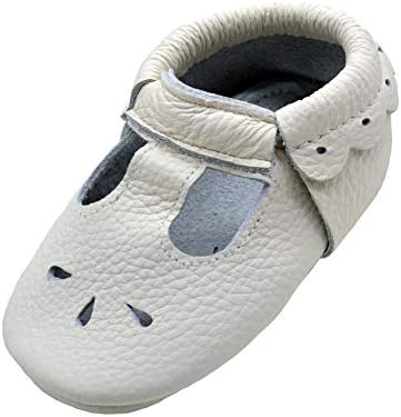iEvolve Baby Leather Shoes Soft First Walker Shoes Crib Shoes Moccasins for Toddlers Wihte Sandal product image