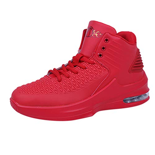 Aribelly Men's Fashion High-Top Non-Slip Wear-Resistant Waterproof Sports Sneakers Comfortable Basketball Shoes Red