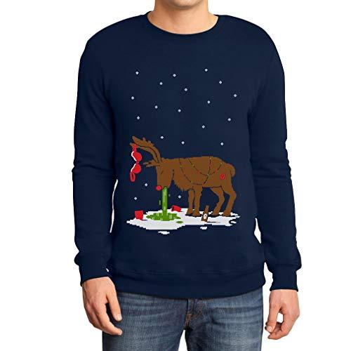 Shirtgeil Hangover Renna Dopo Sbornia Ugly Sweater Felpa/Maglione da Uomo